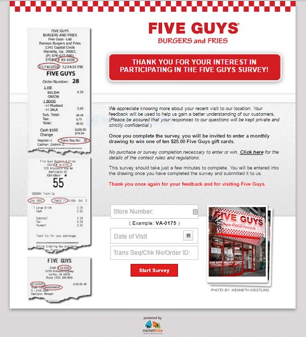 five guys survey screenshot