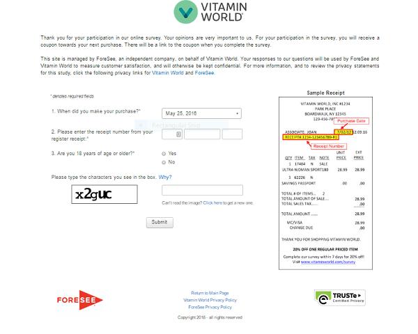 vitamin world survey second page