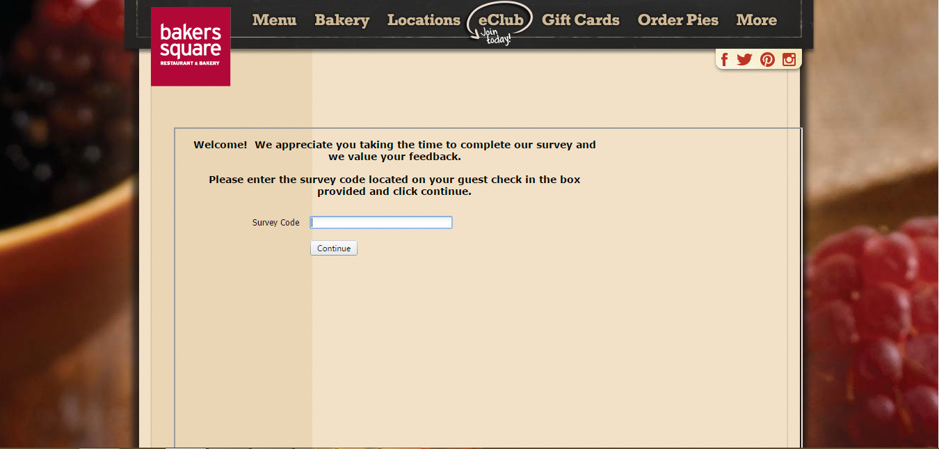 Bakers Square Survey Page