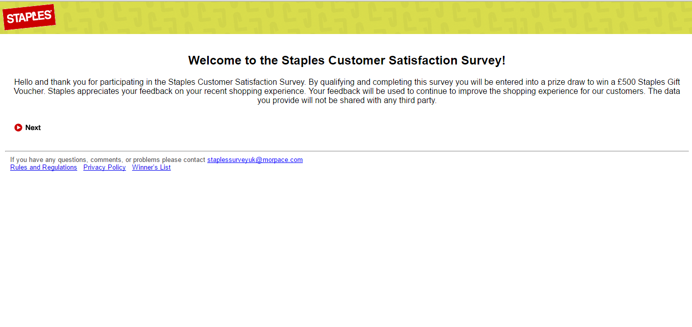 Staples Survey Page