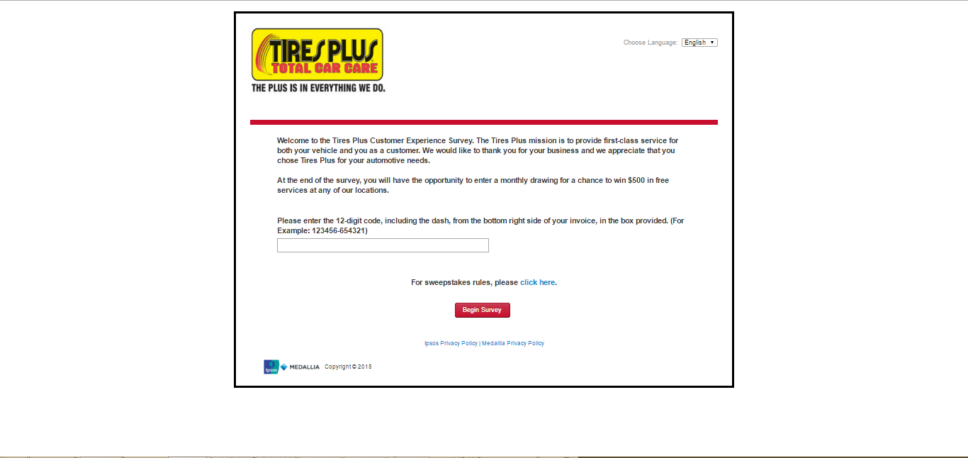 Tires Plus Survey Page
