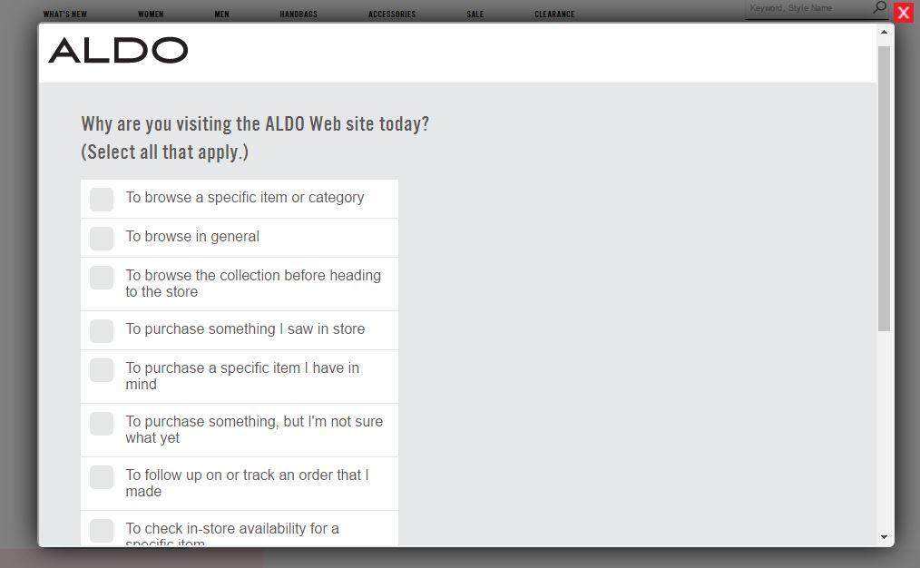 aldo shoes survey screenshot