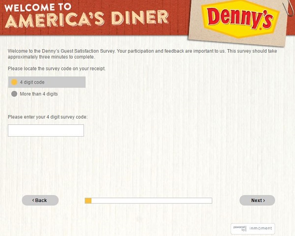 dennys listens survey screenshot
