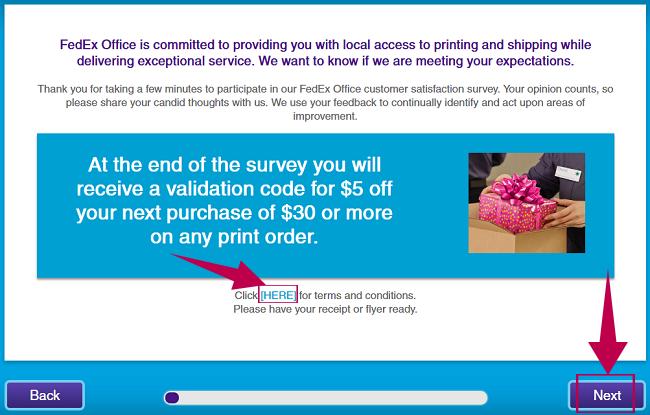 FedEx Survey Step 2