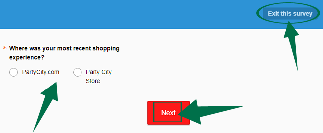 PartyCity Survey Step 1