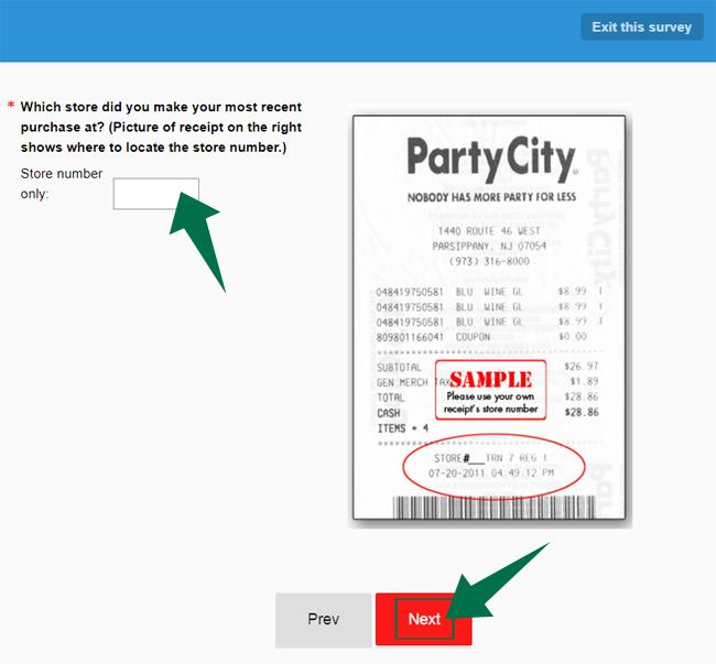 PartyCity Survey Step 2