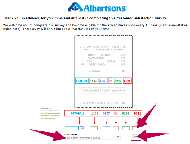 Albertsons Survey Guide Step 2