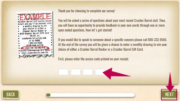 Cracker Barrel Survey Step 2