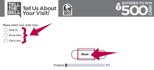 TellTheBell Taco Bell Survey Guide Step 3
