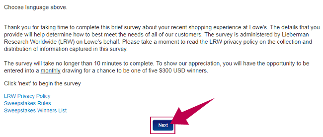Lowes Survey Guide Step 1