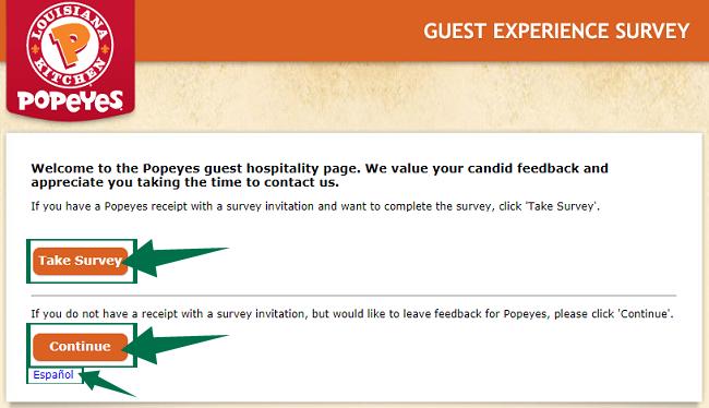 Popeyes Survey Guide Step 1