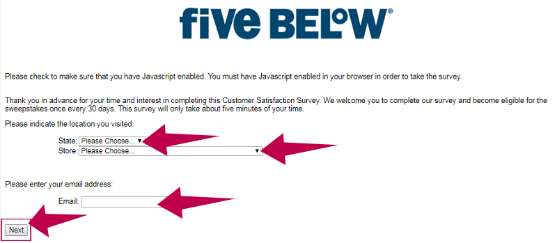 FiveBelowSurvey Guide Step 1