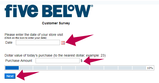 FiveBelowSurvey Guide Step 2
