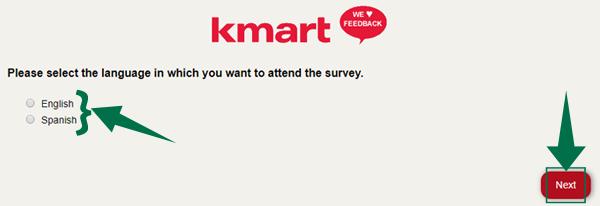 Kmart Feedback Survey Step 1