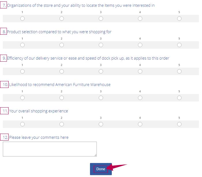American Furniture Warehouse Survey Step 2