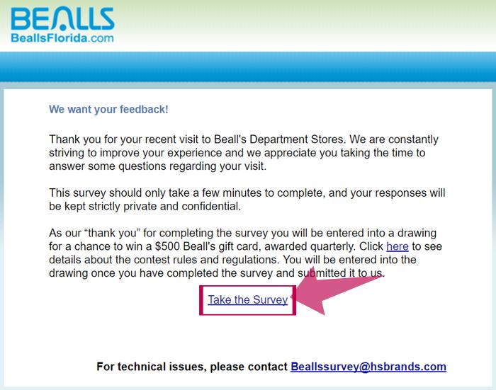 Bealls Florida Customer Feedback Survey Step 1