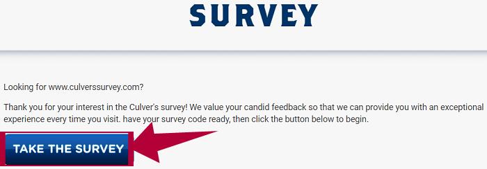 Culvers Guest Satisfaction Survey Step 1