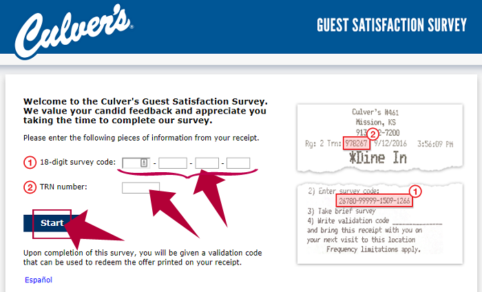 Culvers Guest Satisfaction Survey Step 2