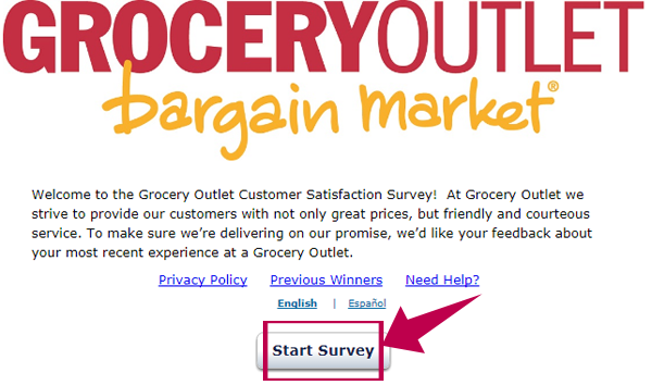 Grocery Outlet Customer Satisfaction Survey Step 1