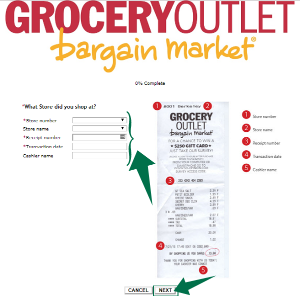 Grocery Outlet Customer Satisfaction Survey Step 2
