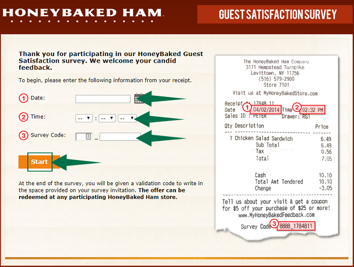 MyHoneyBaked Guest Satisfaction Survey