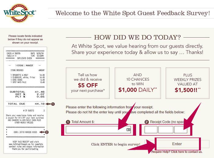 WhiteSpot Guest Feedback Survey