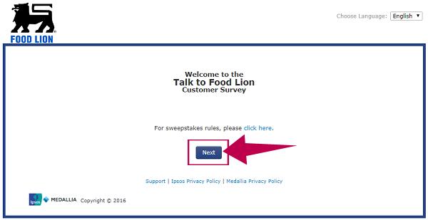 TalkToFoodLion Survey Step 1