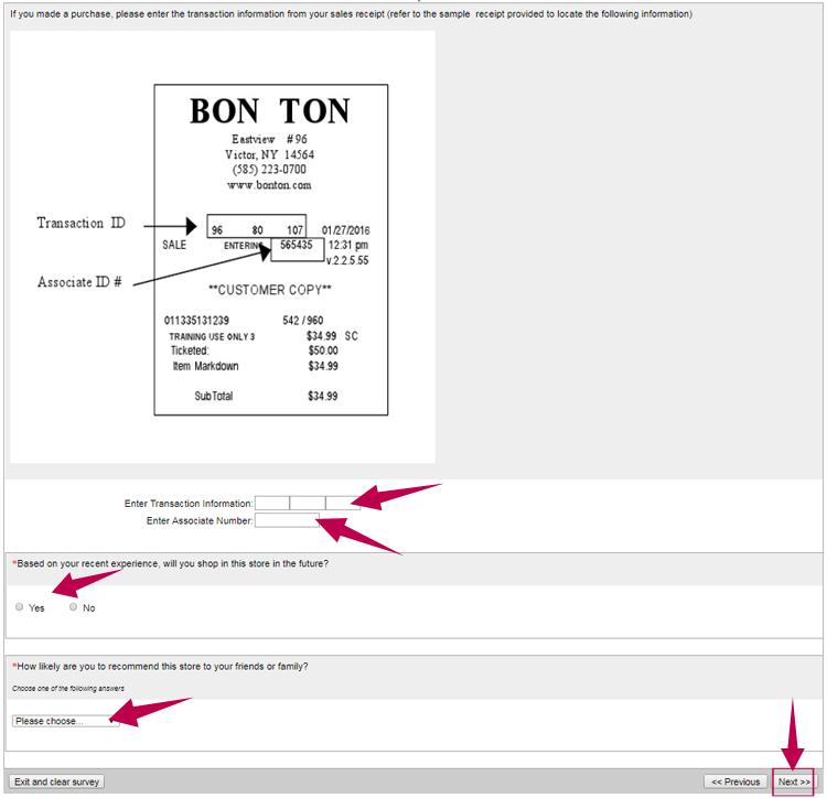 Bonton Survey Step 3