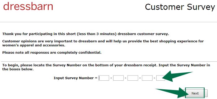 Dress Barn Survey Step 2