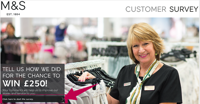 Marks Spencer Customer Survey Step 1