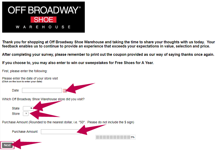 Off Broadway Survey Step 1
