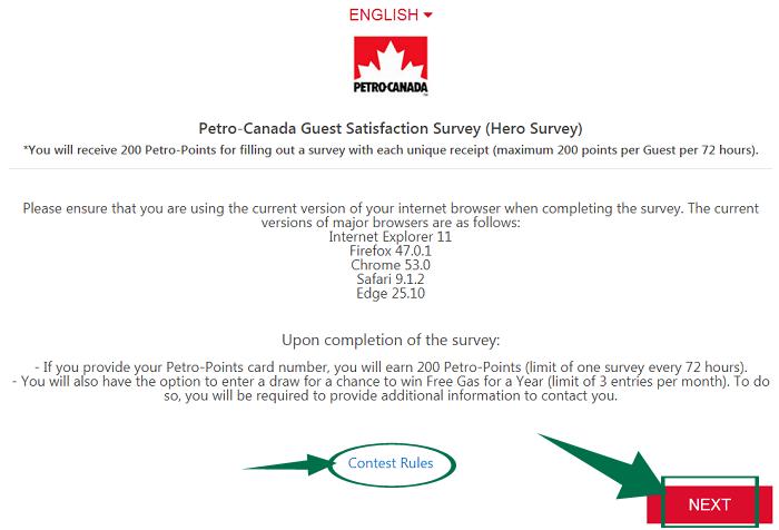 Petro Canada Survey Step 2