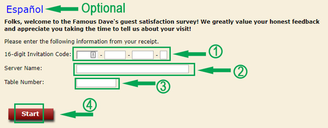 landing page of famous daves survey