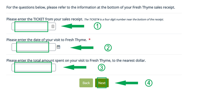third step of fresh thyme survey