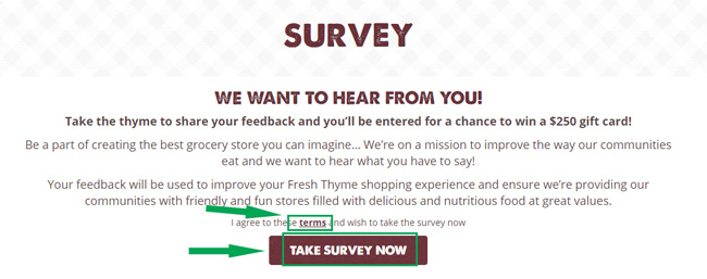 fresh thyme survey landing page
