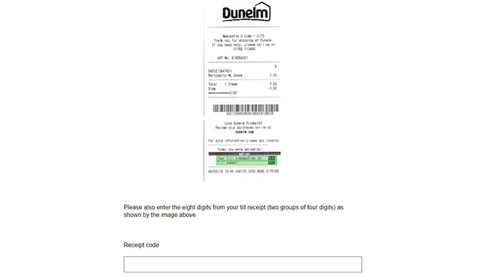 Dunelm Mill Survey Recepit
