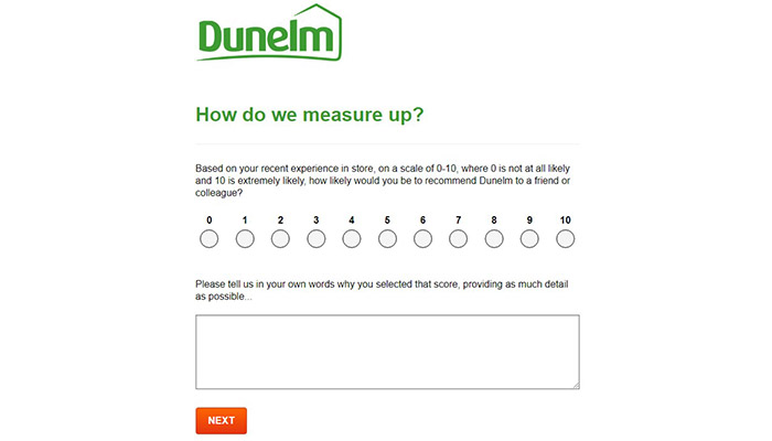 Dunelm Mill Survey Rating