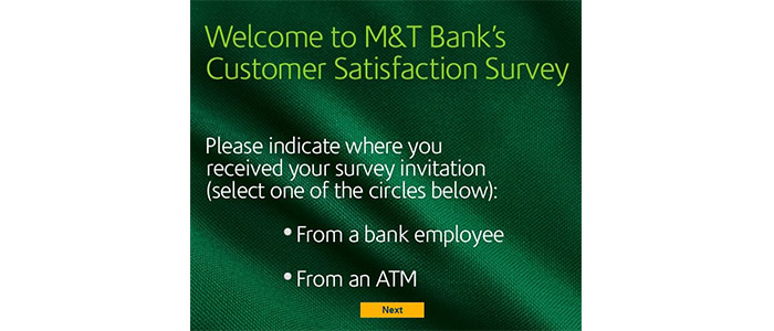 M&T Bank Survey Bank Selection