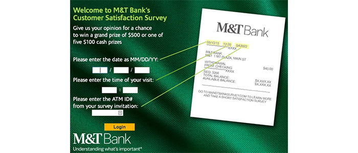 M&T Bank Survey Recepit