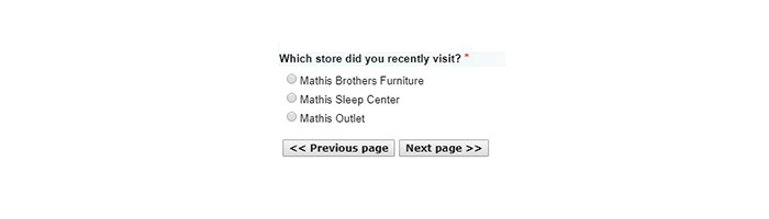 Mathis Brothers Survey Store Select page